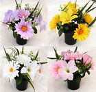 Artificial Flowers Gerbera Lily Cemetery Pot Memorial Grave Tribute Cemetary
