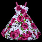 z33 AUG w801 White Magenta Flower Girls Dress Casual Summer Birthday Party 2-12y