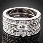 Hot Trendy 3 in 1 Korean Style Bling Women Girl Shiny Inlaid Silver Crystal Ring