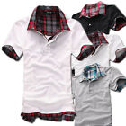 Casual Mens Stylish Checked Short Sleeve T-Shirt Slim Fit US Size M L XL XXL Top