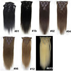 "22""7Pcs 100g Full Head Clip in Synthetic Straight Hair Extensions 7Colors Beauty"