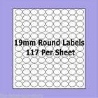 A4 Self Adhesive Labels ~ 19mm Round Circle Labels ~ 117 Labels Per Sheet