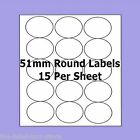 A4 Self Adhesive Labels ~ 51mm Round Circle Labels ~ 15 Labels Per Sheet