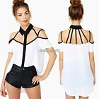 Hot New Women Sexy Off-shoulder Backless Top Fashion Casual T-Shirt White Blouse
