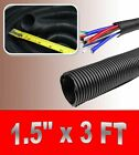 "1.5""  BLACK SPLIT LOOM TUBING Wire & Hose Cover Polyethylene Audio Video"