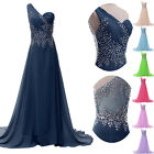 New Beaded Wedding Bridesmaid Dress Formal Ball Evening Gowns Prom Long Dresses