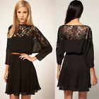 Women 3/4 Sleeve Lace Chiffon Party Evening Short Mini Sexy Dress Slim Fit Gown