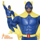 Deluxe Bananaman Muscle Chest Costume Superhero Fancy Dress Mens New