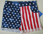 Stars Stripes Red White Blue Patriotic Girls XS S M L XL American Flag Shorts