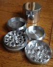 4-Part Aluminium Metal Pollinator Herb Grinder - Silver Magnetic diamond sharp