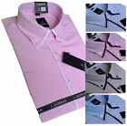 Mens Cotton Striped Formal shirt Oxford Button Down double collar Short sleeve