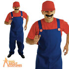 Red Plumbers Mate Costume 80s Super Mario Fancy Dress Outfit Mens Video