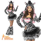 Fever Zebra Costume Adult Sexy Animal Fancy Dress Womens Outfit UK 4 - 18