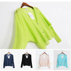 Womens Silk Linen Light weight Cardigan Batwing Oversized Jumper Sheer Knit Top