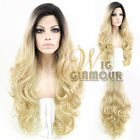 "Long Curly Wavy 28"" Black Mixed Light Golden Blonde Lace Front Wig"