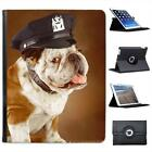 Bull Dog In Police Hat Folio Wallet Leather Case For iPad 2, 3 & 4