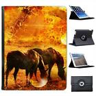 Pair Of Horses In A Prairie Folio Wallet Leather Case For iPad 2, 3 & 4