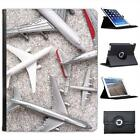 Different Size Airplanes White & Grey Folio Leather Case For iPad 2, 3 & 4
