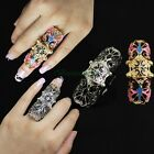 Retro Gothic Cubic Pattern Rock Punk Full Scroll Armor Joint Knuckle Finger Ring