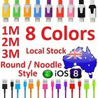 1M 2M 3M Flat Noodle Data Sync Charging USB Cable for iPhone 5 6 7 8 Plus iPod