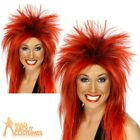 Ladies Rock Diva Wig Red & Black Mullet 80s Rock Punk New Fancy Dress Accessory