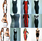 Sexy Clubwear Dress Bodycon Summer Party White Black Red 6 8 10 12 UK Seller