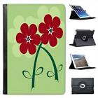 Beautiful Red Flowers in Wonderful Green Design Leather Case For iPad Mini