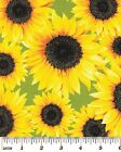 Sunflower Flower Fabric AVAILABLE IN 2 Background Colors - Black and Lime