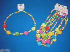 Multi Coloured SMILEY FACE Wooden Beaded Elasticated Necklace Party Bag Filler