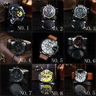 Fashion Oversiz Men's Stainless Steel&Alloy Synthetic Leather Quartz wrist Watch