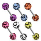 14 Gauge 5/8 Inch Barbell Surgical Steel Barbell Tiger Print UV Ball T165