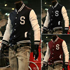 Mens Varsity Letterman College Campus Sports Jacket Baseball Coat  Tops S M L XL