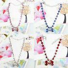 CZ 3 Colour Rhinestones Crystal Pet Collar Necklace With Bone Charm, Dog Jewelry
