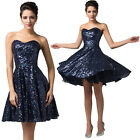 Strapless Sequins Ball Cocktail Evening Prom Party Bridesmaid Dress 8 Size 6~20