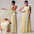 Chiffon Cocktail Evening Party Ball gown Prom Bridesmaid Wedding Dress Yellow