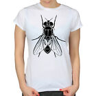 HOUSE FLY INSECT VECTOR DRAWING SCIENCE NATURE HIPSTER GIRLS SKINNY T-SHIRT TEE