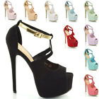 WOMENS HIGH HEEL STILETTO PLATFORM STRAPPY LADIES PEEP TOE SANDAL SHOES SIZE 3-8