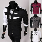 Modern Mens Slim Fit Neckline Fashion Dress Long Sleeve Casual Shirt White Black