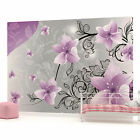 Purple and Silver Floral Pattern Photo Wallpaper Wall Mural (CN-1238VE)