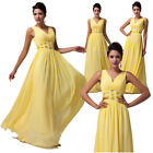 Women's Vogue V-Neck Bridesmaid Wedding Prom Gown Evening Party Yellow Dress sz