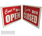 OPEN & CLOSED Shop Window Sign. Hard Plastic Complete With Sucktion Hook.