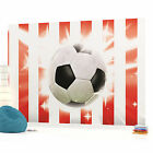 Football on Red and White Strips Photo Wallpaper Wall Mural (CN-473P)