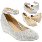 Womens Crystal Ankle Strap Rhinestone Wedding Bridal Wedge Low Heel Pump US 5-11