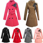 Womens Fashion Double-Breasted Belted Warm Long Trench Coat Outwear