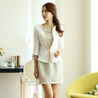 Hot! One-button Golden Chains Should-padded 3/4 Sleeve Suit Blazer Hollow Dress