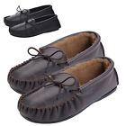 Mens Genuine Leather Moccasin Slipper Sheepskin Lining Hard Sole Brown Black