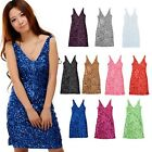 Sexy Slim Clubwear Bling Sequins Mini V-Neckline Bodycon Sheath Party Dress HOT!