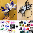 Mixed Feather Hair Fascinator Headband Wedding and Royal Ascot Races Ladies