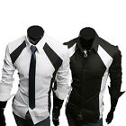 CHEAP Black White Patched Mens slim fit casual business long sleeve dress shirts