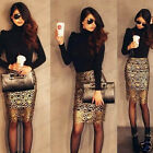 Ladies Chic Hollow Crochet Black Lining Pencil Wap Skirt Gold Lace Dress UKSP